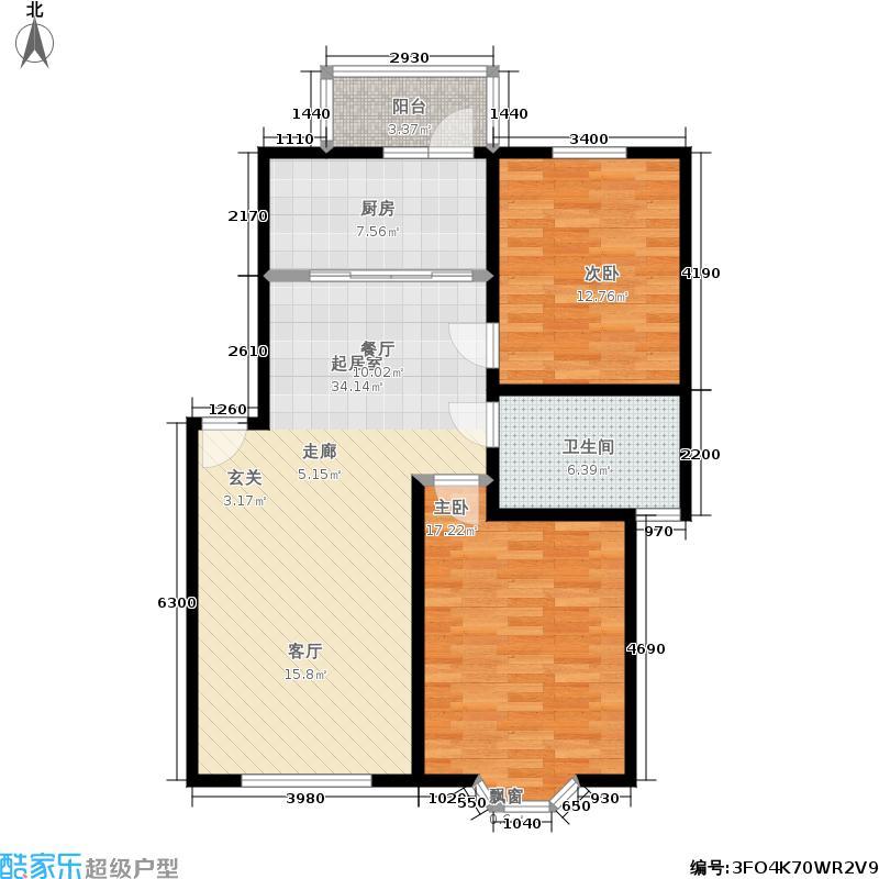 昌鑫花园90.77㎡2室2厅1卫户型