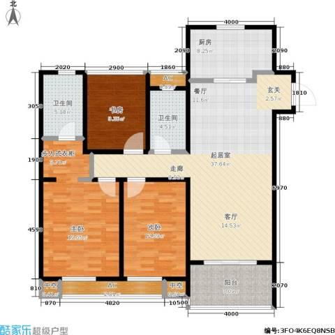 万科国际广场3室0厅2卫1厨123.00㎡户型图