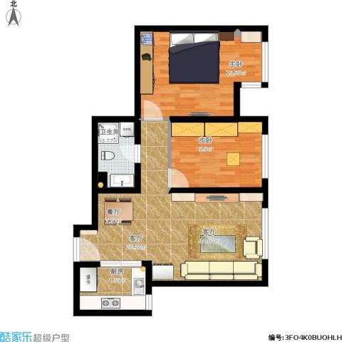 亿城堂庭2室1厅1卫1厨87.00㎡户型图