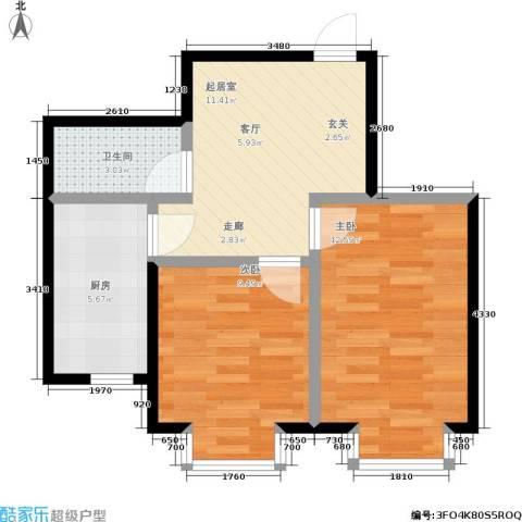 四季嘉园观唐2室0厅1卫1厨46.00㎡户型图