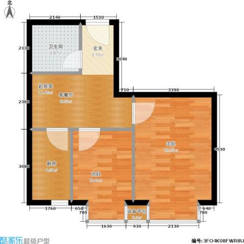 世代龙城2室0厅1卫1厨50.00㎡户型图
