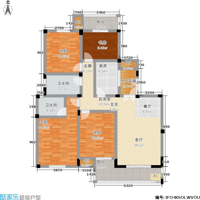 银仁御墅143.41㎡电梯花园洋房B户型4室2厅2卫-T