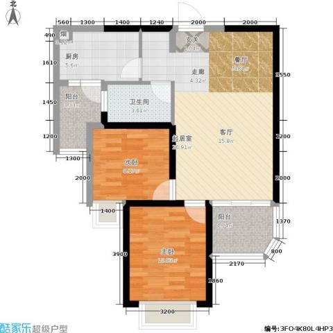 恒大雅苑2室0厅1卫1厨90.00㎡户型图