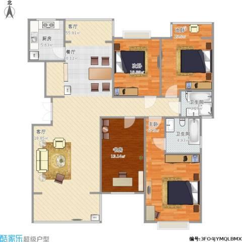 鑫天芙蓉4室1厅2卫1厨167.00㎡户型图