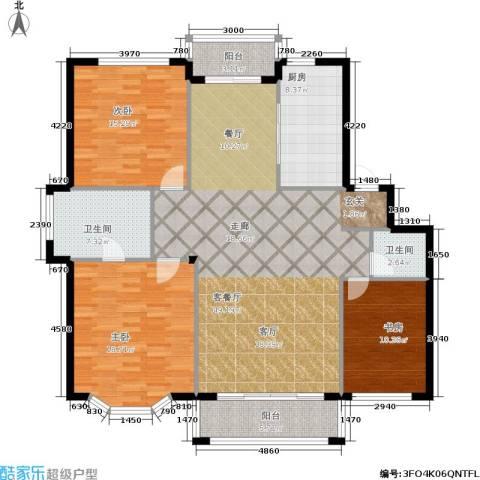 观山满庭芳3室1厅2卫1厨166.00㎡户型图