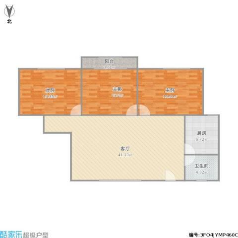 虹华大楼3室1厅1卫1厨130.00㎡户型图