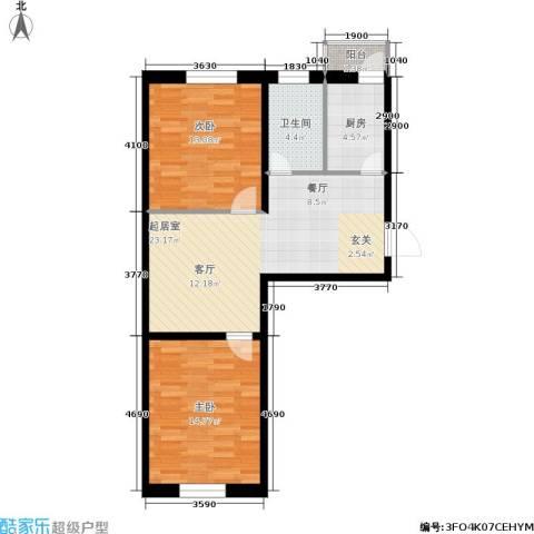 世代龙城2室0厅1卫1厨70.00㎡户型图