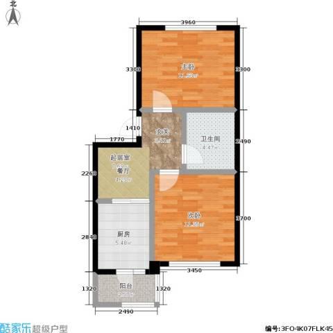 南岭新城三期2室0厅1卫1厨50.00㎡户型图