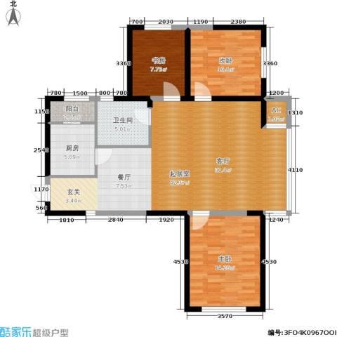 双鑫家园3室0厅1卫1厨124.00㎡户型图