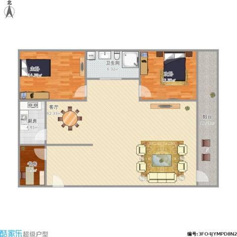 竹苑新村3室1厅1卫1厨154.00㎡户型图