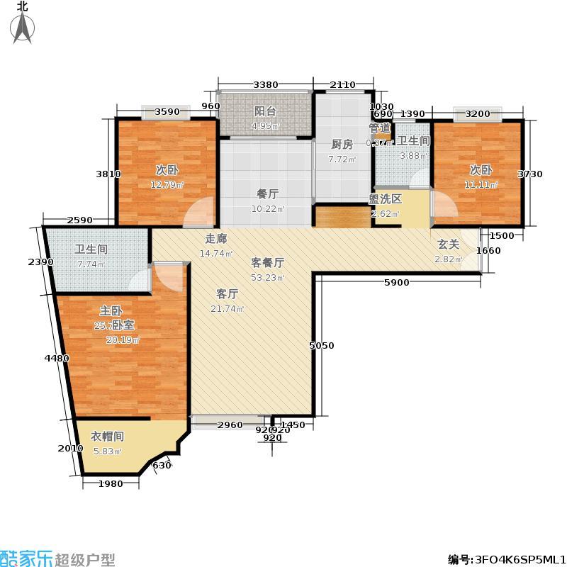 永业公寓3室2厅2卫1厨141.80㎡户型2室2厅2卫