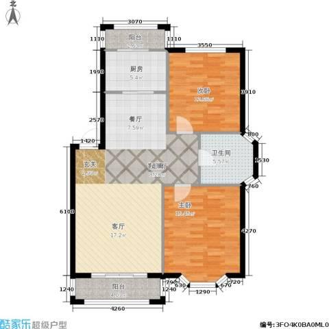 观山满庭芳2室1厅1卫1厨90.00㎡户型图
