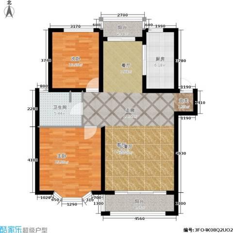 观山满庭芳2室1厅1卫1厨118.00㎡户型图