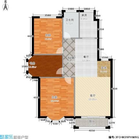 观山满庭芳3室1厅1卫1厨112.00㎡户型图