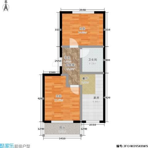 南岭新城三期2室0厅1卫0厨50.00㎡户型图