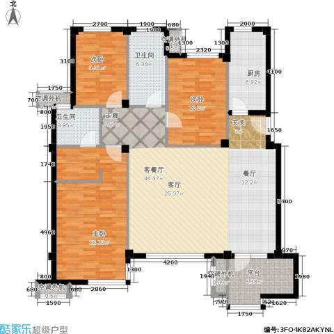 万科新榆公馆一期3室1厅2卫1厨162.00㎡户型图