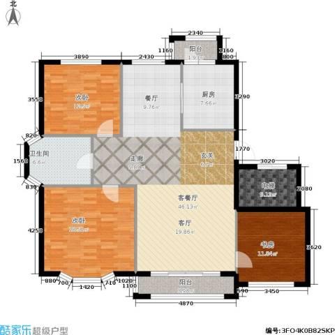 观山满庭芳3室1厅1卫1厨113.48㎡户型图