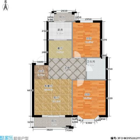 观山满庭芳2室1厅1卫1厨115.00㎡户型图