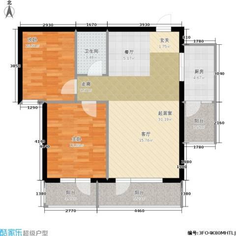 安邦百合园2室0厅1卫1厨82.00㎡户型图