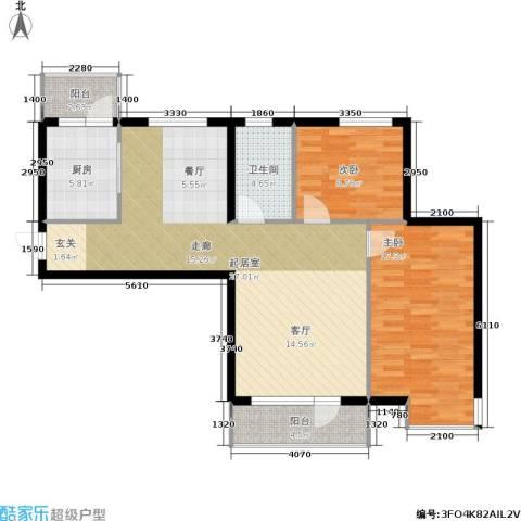 安邦百合园2室0厅1卫1厨89.00㎡户型图