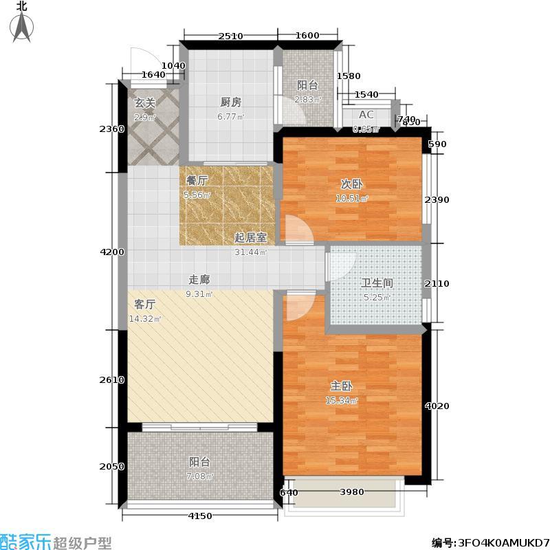 恒大雅苑91.06㎡10-12号楼2单元3-18层2两室户型