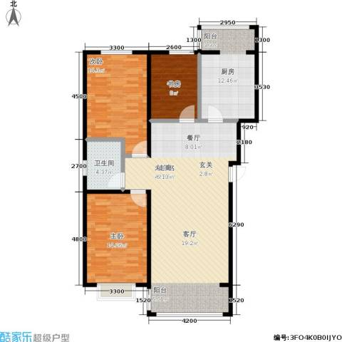 鑫丰国际3室0厅1卫1厨132.00㎡户型图