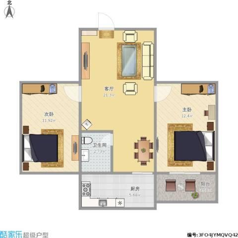 合作小区2室1厅1卫1厨92.00㎡户型图