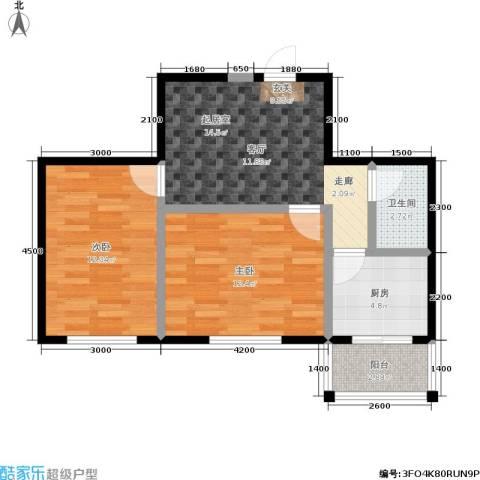 鹏程・上漾园2室0厅1卫1厨71.00㎡户型图