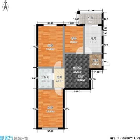 鹏程・上漾园3室0厅1卫1厨78.00㎡户型图