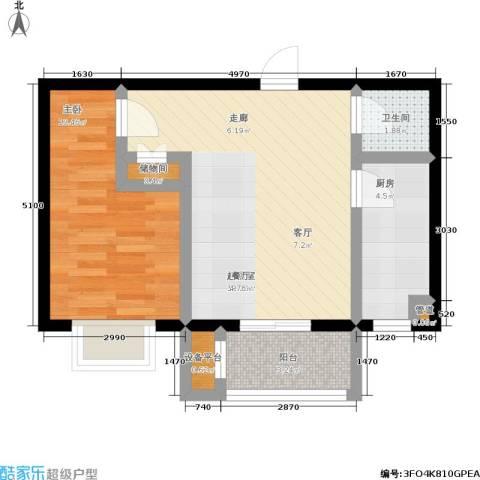 理想城1室0厅1卫1厨53.00㎡户型图