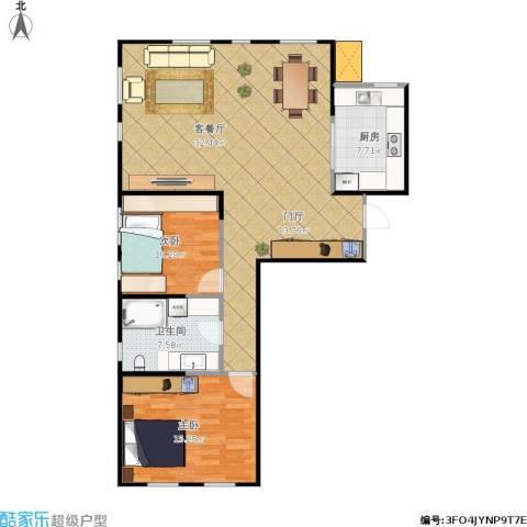 艺术家公寓2室1厅1卫1厨115.00㎡户型图