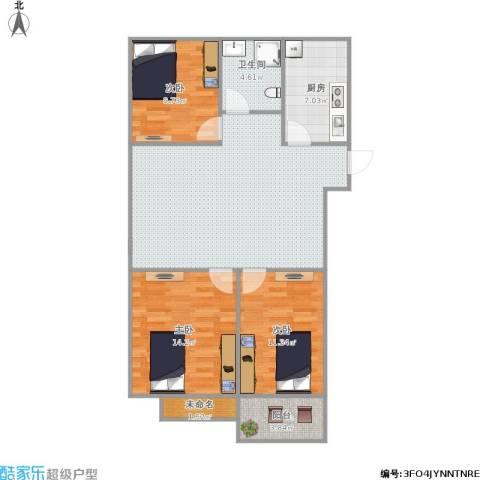 景城名郡3室1厅1卫1厨110.00㎡户型图
