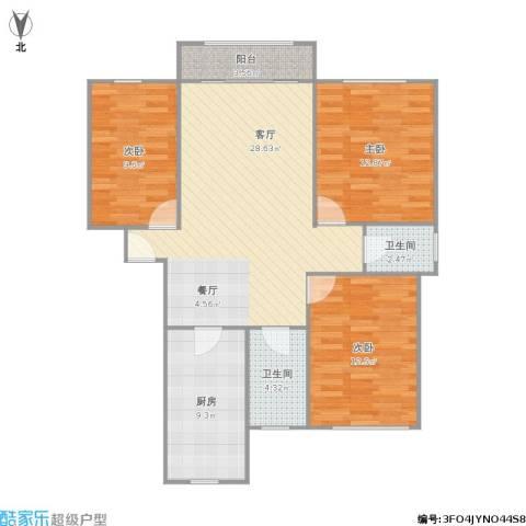 金都花好悦园二期3室1厅2卫1厨111.00㎡户型图