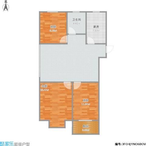 景城名郡3室1厅1卫1厨109.00㎡户型图