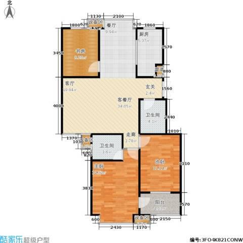 阿尔卡迪亚3室1厅2卫1厨94.00㎡户型图