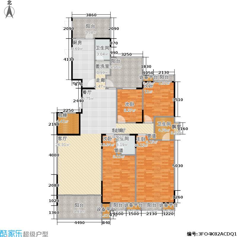 建鸿达现代华都现代华都3栋04面积185-195m2户型