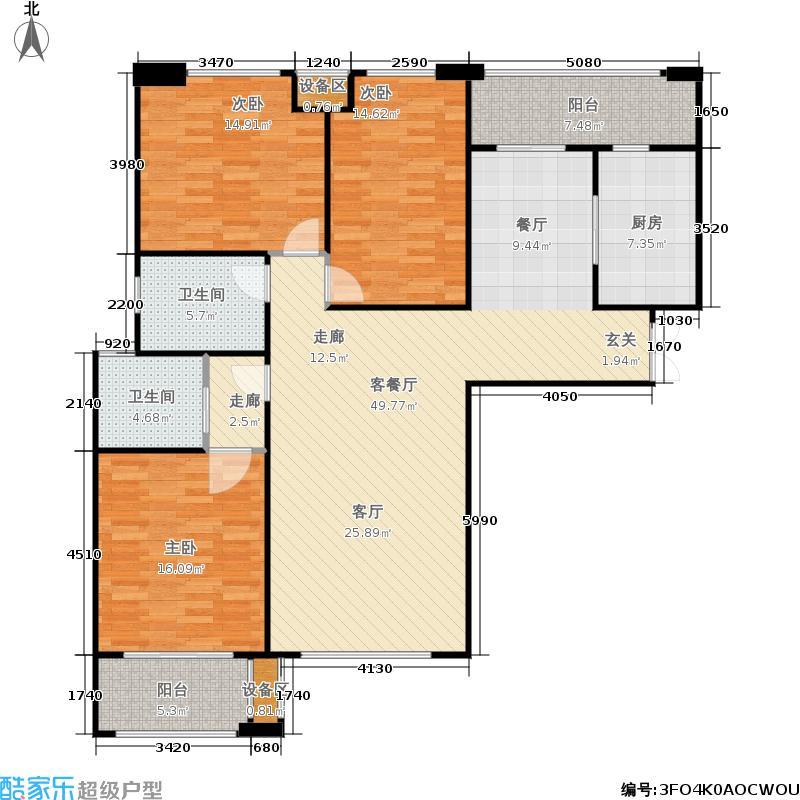 大观国际金林大观国际居住区142.00㎡E1完美三居户型