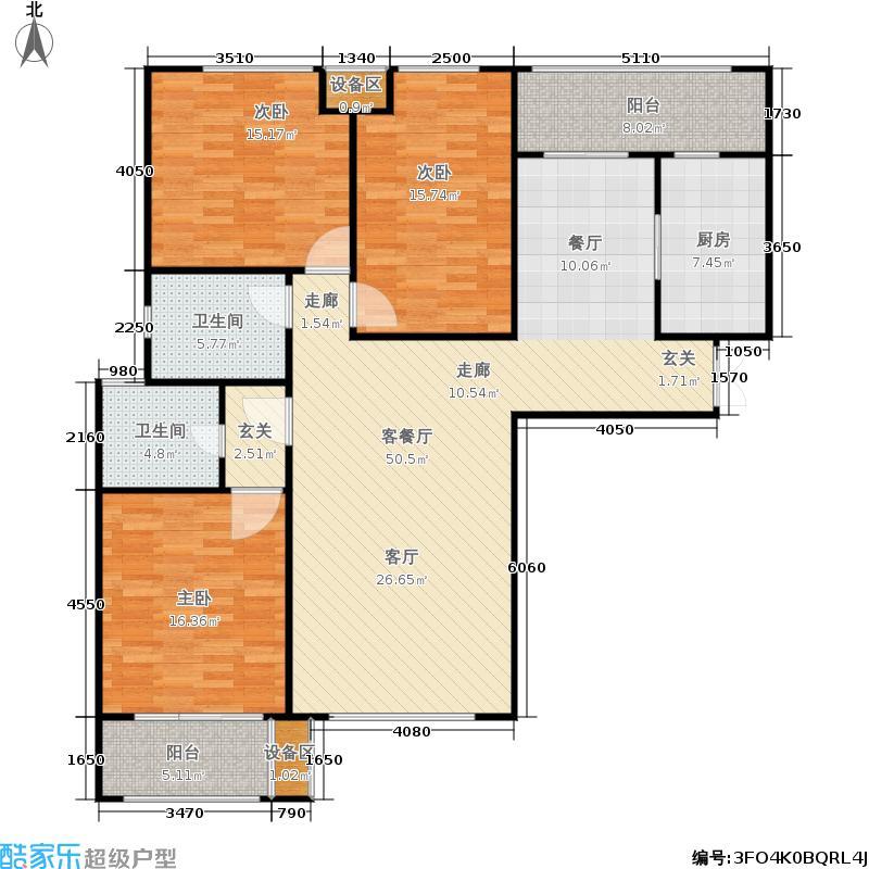 大观国际金林大观国际居住区143.00㎡E19号楼东单元三居室户型