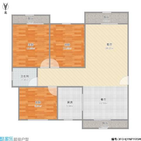 碧林湾南苑3室1厅1卫1厨117.00㎡户型图