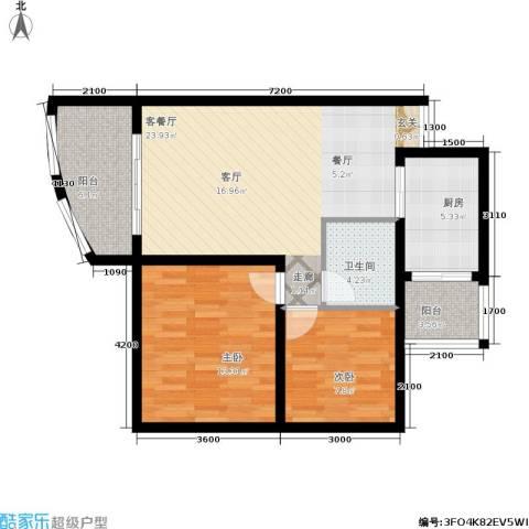 科强锦龙苑2室1厅1卫1厨72.41㎡户型图