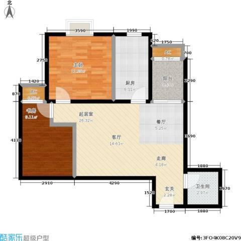 大洋时代国际(紫竹星苑)2室0厅1卫1厨71.00㎡户型图