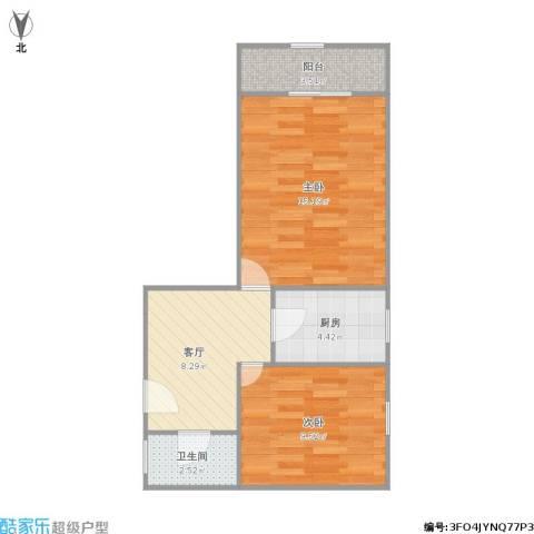 西凌家宅2室1厅1卫1厨58.00㎡户型图