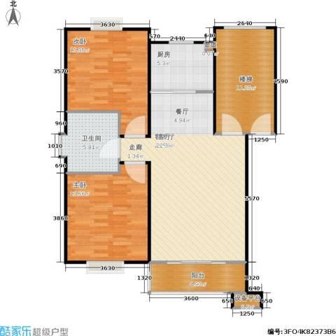 鸿运华庭2室1厅1卫1厨90.00㎡户型图