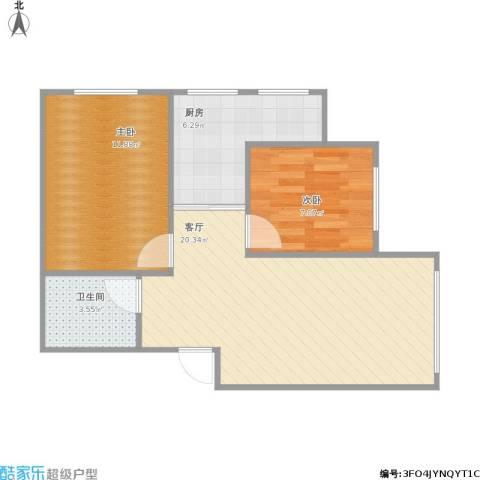 明光水岸2室1厅1卫1厨66.00㎡户型图
