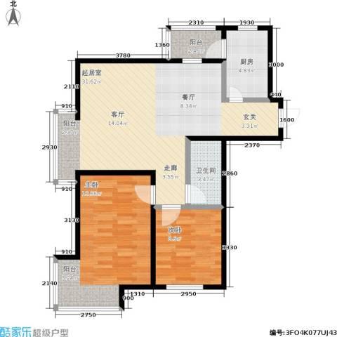 富云新都2室0厅1卫1厨76.00㎡户型图