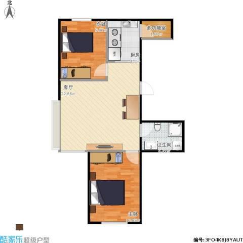 中天富城2室1厅1卫1厨76.00㎡户型图
