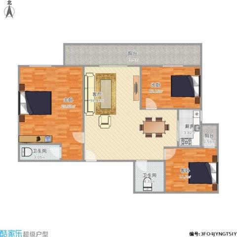 聚祥广场3室1厅2卫1厨117.99㎡户型图