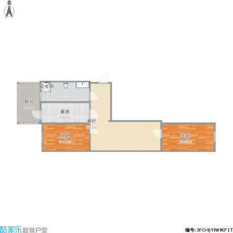 国宜北里2室1厅1卫1厨81.00㎡户型图