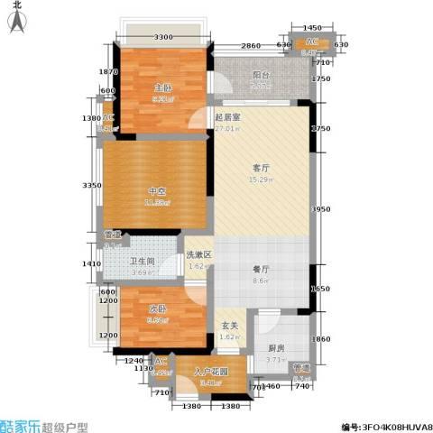 万科金域华府2室0厅1卫1厨107.00㎡户型图