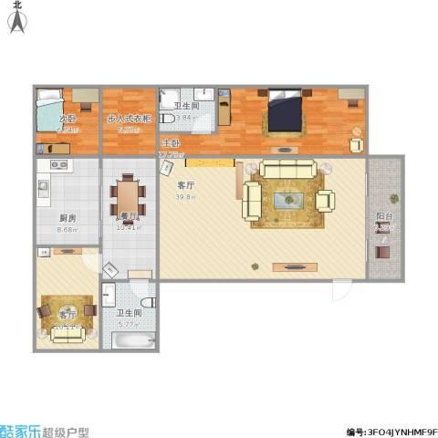 亨达花园2室3厅2卫1厨154.00㎡户型图